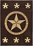 Rugs 4 Less Collection Texas Lone Star State Novelty Area Rug R4L 78 Color and Size (Brown, 5ft 2in x 7ft 2in)