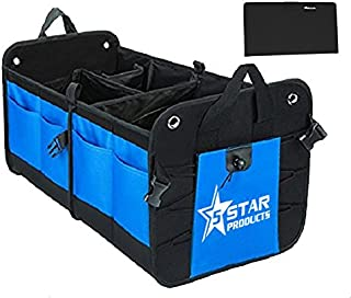 5-Star-Products Car Trunk Storage Organizer Mobile Back Seat Cargo Crate for SUV Truck Auto Soccer Sports Mom | Portable Collapsible Multi Compartment with Bonus Glove Box Wallet