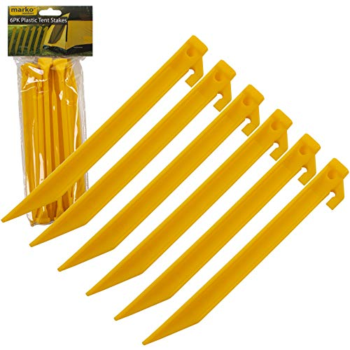 Marko outdoor 9' Tent Pegs Yellow Plastic Stakes Camping Gazebo Tarpaulin Awning Rust Proof
