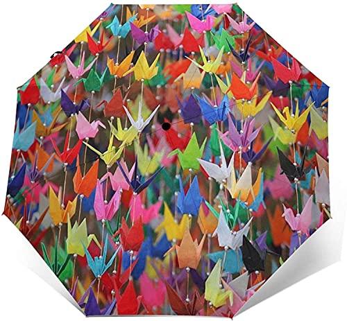 Paraguas Automático De Tres Pliegues, Ligero Para Hombres Y Mujeres, Paraguas Plegable Portátil, Grullas De Papel De Origami, Talla Única, Estampado De Chica Geisha Japonesa Retro