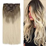 YoungSee Extension a Clip Blond Vrai Cheveux Humain Pas Cher Balayage Clip in Hair Extension Ombre Blond Double Weft Remy Human Hair 14Pouces 7pcs/120g