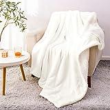 BEDELITE Sherpa Fleece Blanket Twin Size, White Throw Blankets for Couch & Bed, Super Soft Plush Microfiber Fuzzy Blanket, Velvet Plush/Wool Like Warm Blankets for Winter