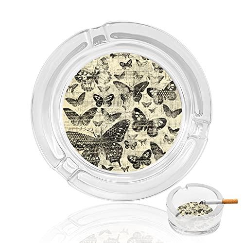 Cenicero redondo con diseño de mariposas, color negro, beige, vintage, shabby Chic, patte para cenicero para fumar en interiores y exteriores, decoración de mesa, 8,4 cm de diámetro