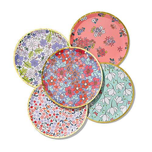 """Coterie Floral Paper Plates - Cute Party Plates For Tea Party, Bridal Shower, Garden Party, Baby Shower - Floral Party Decorations 