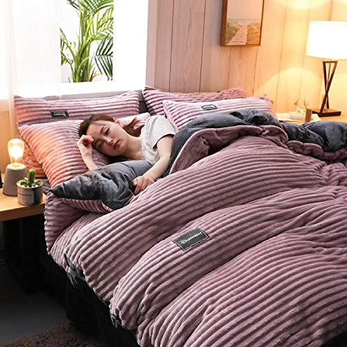 Bedding-LZ Set Copripiumino in Flanella-Copripiumino in Flanella da Letto a Quattro Pezzi in Velluto Magico bifacciale Invernale Copripiumino in Velluto Corto-D_Letto da 1,2 m (4 Pezzi)