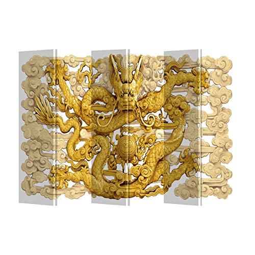 Fine Asianliving Paravent Raumteiler Spanische Wand Trennwand Room Divider Raumtrenner Sichtschutz Japanisch Orientalisch Chinesisch L240xH180cm Bedruckte Canvas Leinwand Doppelseitig Asiatisch