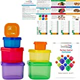 21 Day Portion Control Container Kit for Weight Loss -Labeled Meal Food Containers - 21 Day Tally Chart with e-Book (7 Piece Labeled)