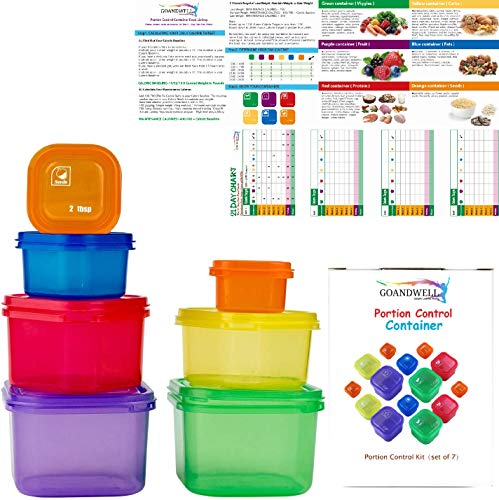 21 Day Portion Control Container Kit for Weight Loss Set (7-Pieces)