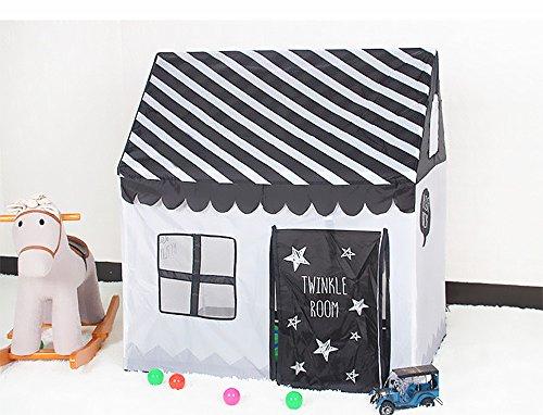 Flovingキッズテント子供用KidsTent子供テントプレイテント折り畳むテントハウス子供テントおもちゃ子供用設置簡単収納ケース付き室内室外両方使用可能秘密基地隠れ家知育玩具おままごと子供部屋黒ストライプ