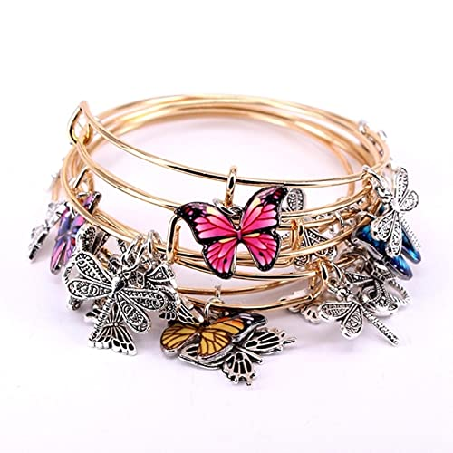 SONGK Juego de brazaletes de 5 Piezas, Pulseras de Alambre para Mujeres, niñas, Mariposa, libélula, Arco, encantos, brazaletes, joyería
