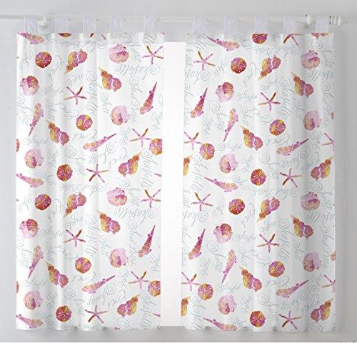 Martina Home Caracolas Cortinas Visillo para Cocina, Tela, Fucsia, 100 x 140 cm (Pack 2 Unidades)