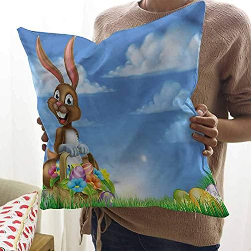 N\A Huevo de Conejo Lindo de Dibujos Animados de Almohada Cuadrada de Pascua Fundas de Almohada para sofá