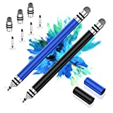 Modern Stylus Pens for Touch Screens Fine Point, 100% Stainless-Steel Fine Tip Stylus Pen, Stylist Pen for iPad, iPhone, Tablet, Laptop, Android, Samsung, Kindle with 7 Replacement Tips (Black/Blue)