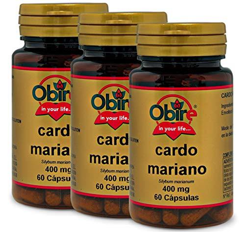 Obire | Cardo Mariano | 400 mg | Contribuye al Potencial Detoxificante del Hígado | Facilita la Digestión de las Grasas | 60 Cápsulas (Pack 3 unid.)
