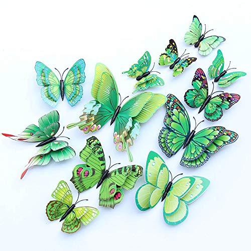 12 unidades de imanes 3D extraíbles, mariposas, pegatinas de pared para bricolaje, habitación de bebé, oficina, fiesta y decoración de cumpleaños