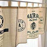 Cortinas pequeñas de Estilo Minimalista Moderno para cafetería, Pub, Restaurante, Bar, Cocina, Cortina Corta de Tela de Lino de algodón 140x45cm / 55.1x17.7in-A Style