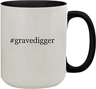 #gravedigger - 15oz Hashtag Colored Inner & Handle Ceramic Coffee Mug, Black