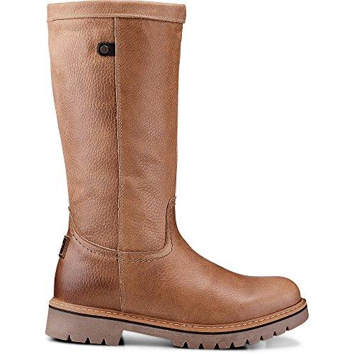 Cox Damen Winter-Stiefel aus Leder, Stiefeletten in Braun mit weichem Warmfutter Braun Leder 38