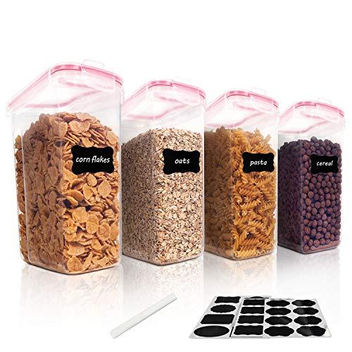 Vtopmart 4L Große Vorratsdosen Set,Müsli Schüttdose & Frischhaltedosen, BPA frei Kunststoff Vorratsdosen luftdicht, Satz mit 4 + 24 Etiketten für Getreide, Mehl, Zucker usw (Rosa)