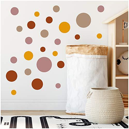 yabaduu 100 Klebepunkte Kreise Punkte Wandtattoo Kinderzimmer Schlafzimmer Babyzimmer Aufkleber Folie Deko Selbstklebend für Junge Mädchen Pastell (Y035-8 Erdtöne)