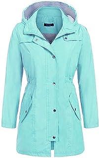 SUPHEN レインコートレディース様々な防水レインコートウエストフード付きロングコートレインコート屋外レインコート女性 (Color : Aqua blue, Size : S)