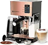 EspressoWorks 10Pc All-in-One Barista Bundle Espresso Machine & Cappuccino Maker, Built in Milk Steam & Frother, Electric Grinder, 2 Cappuccino & 2 Espresso Cups,16 Coffee Stencils (Rose Gold)