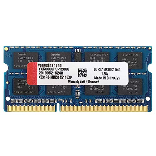 4GB DDR3 DDR3L 1600MHz SODIMM RAM Kit (PC3-12800) CL11 204Pin 1.35V Non-ECC Unbuffered Stick Upgrade Module for Laptop Memory (Blue)