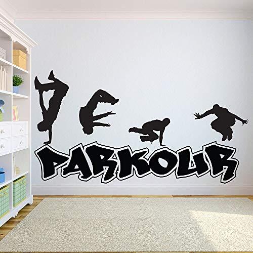 Parkour pared calcomanía deportes extremos ciudad calle baile vinilo ventana pegatina arte dormitorio adolescente sala de juegos decoración Interior