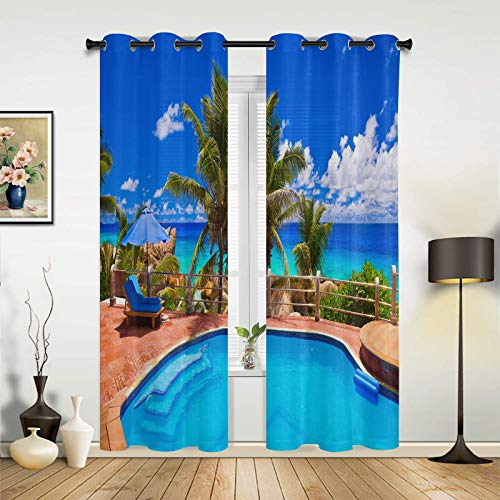 Window Curtains Drapes Panels Seaside Scene Island Tropical Beach Swimming Pool Blue Sky Clouds Grommet Top Window Treatment Set for Bedroom Living Room- Set of 2 Panels, 84 Inch Length Drapes