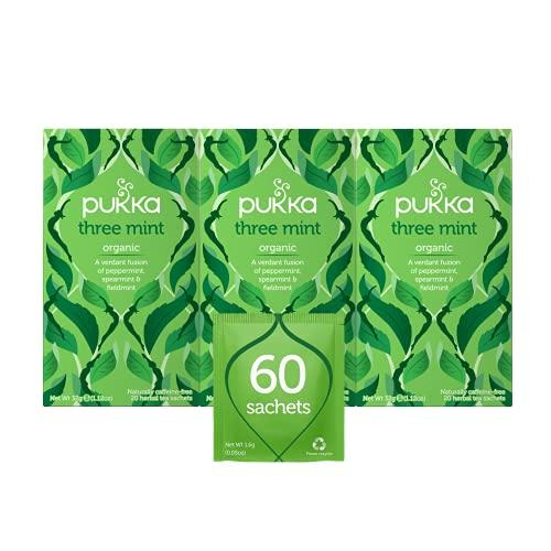 Pukka Three Mint, Organic Herbal Tea With Peppermint, Spearmint & Fieldmint (3 Pack, 60 Tea Bags)