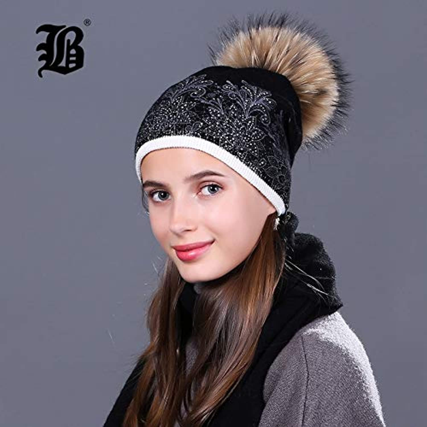 PNX[FLB] New Hat Scarf Set Thick Double-Deck Beanie Warm Winter Wool Knitted Scarf Hat Set for Girl Women Real Mink Fur FLBMX17034