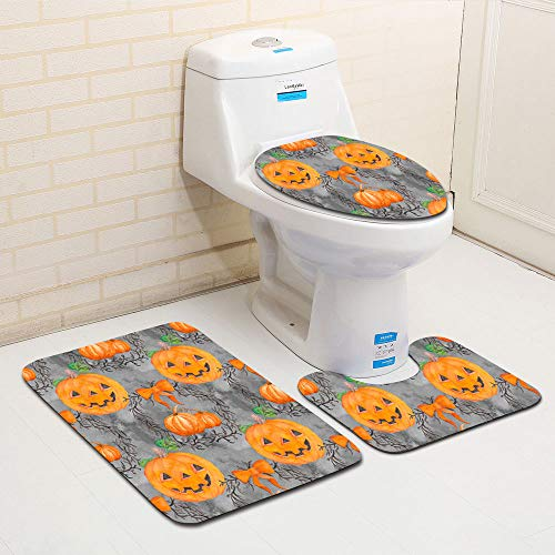 Clearance Sale!DEESEE(TM)Halloween Ghost Spider Toilet Seat Cover and Rug Bathroom Set Halloween Decor (A)