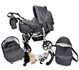 Sportive X2, 3-in-1 Travel System incl. Baby Pram with Swivel Wheels, Car Seat, Pushchair & Accessories (3-in-1 Travel System, Gray & Polka Dots)