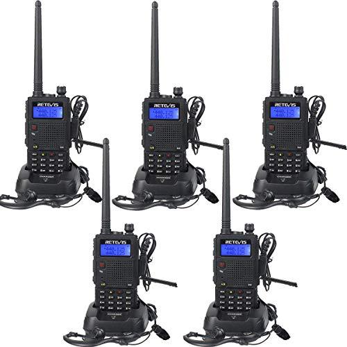 Retevis RT5 Walkie Talkie Profesional Doble Banda 7W 128 Canales Función VOX Escanear Radio FM Linterna Incorporada Pinganillo Monitor Radio Bidireccional con Auriculares(Negro,5 Pacs)