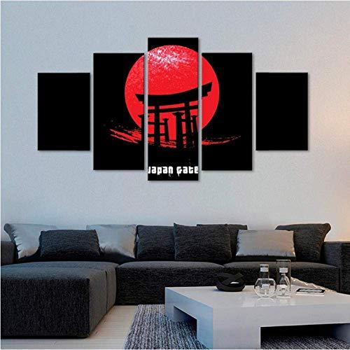 Hd Screen Gedrukt Beeld Home Decor 5 Stuks Japanse Poort Schilderijen Modulaire Muur Kunst Abstract Poster Woonkamer Frame
