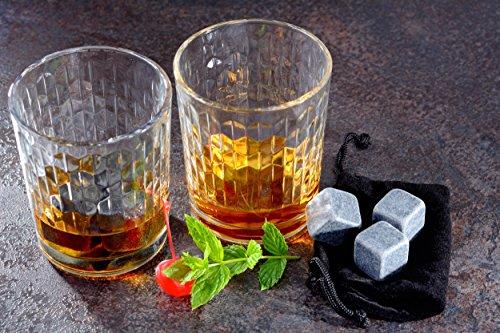 GRÄWE 6 Stück Whisky-Steine Kühlsteine aus Granit inkl. Beutel - 4
