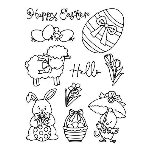 Kcibyvx Frühling Frohe Ostern Kaninchen Ei Blumen DIY Klar Silikonstempel Clear Stamp, Transparent Silikonstempel, Für DIY Karte/Scrapbooking/Fotoalbum Dekorative