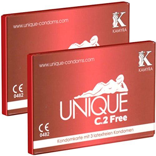 2 x KAMYRA Unique C.2 Free Condom Card, rot - 6 latexfreie Kondome - DOPPELPACK!