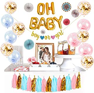 Logui Baby Gender Reveal Party Supplies Set | Gender Reveal Decorations W/ Foil Gold Oh Baby Balloon, Latex Balloons, Paper Fans, Blue, Pink, Gold Tassel and Banner. Gender Neutral Baby Shower Decorations