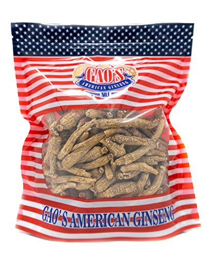 Gao's Best American Ginseng from Wisconsin USA, Organic Cultivated Woodsgrown, Premium Dry 西洋参 花旗参 Gift Dried for Cooking, Fresh Herbal Tea Drink, Small Size Pieces 8oz Bulk Bag (Small 8oz)