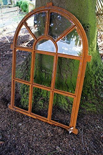 Antikas - Eisenfenster als Antik-Fenster für Gartenmauer m Bogen, Stallfenster westfälisch