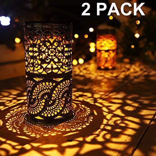 2 Stück, Solarleuchten Retro Kerzenständer Solar Tischlampe für den Innenbereich im Freien antike Tischlampe, solarbetriebene Leuchten Garten Hof Kunst Dekor