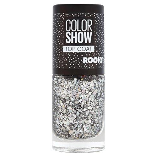 Maybelline ColorShow Nagellack, Nr. 90 Crystal Rocks, bringt die neuesten Laufsteg-Trends aus New York auf die Nägel, silberner Überlack mit bunten Glitzerpartikeln, 6,7 ml