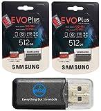 Samsung Evo Plus 512GB MicroSD Memory Card (2 Pack) Works with GoPro Hero 9 Black (Hero9) 4K UHD, UHS-I, U1, Speed Class 10, SDXC (MB-MC512) Bundle with (1) Everything But Stromboli Micro Card Reader
