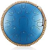 Tambores de hendidura, Tambor de la lengua de acero de 15 pulgadas de 15 pulgadas, instrumento de percusión de perchan, con bolso de almacenamiento, libro de música, mazos y soporte, ideal for la cere
