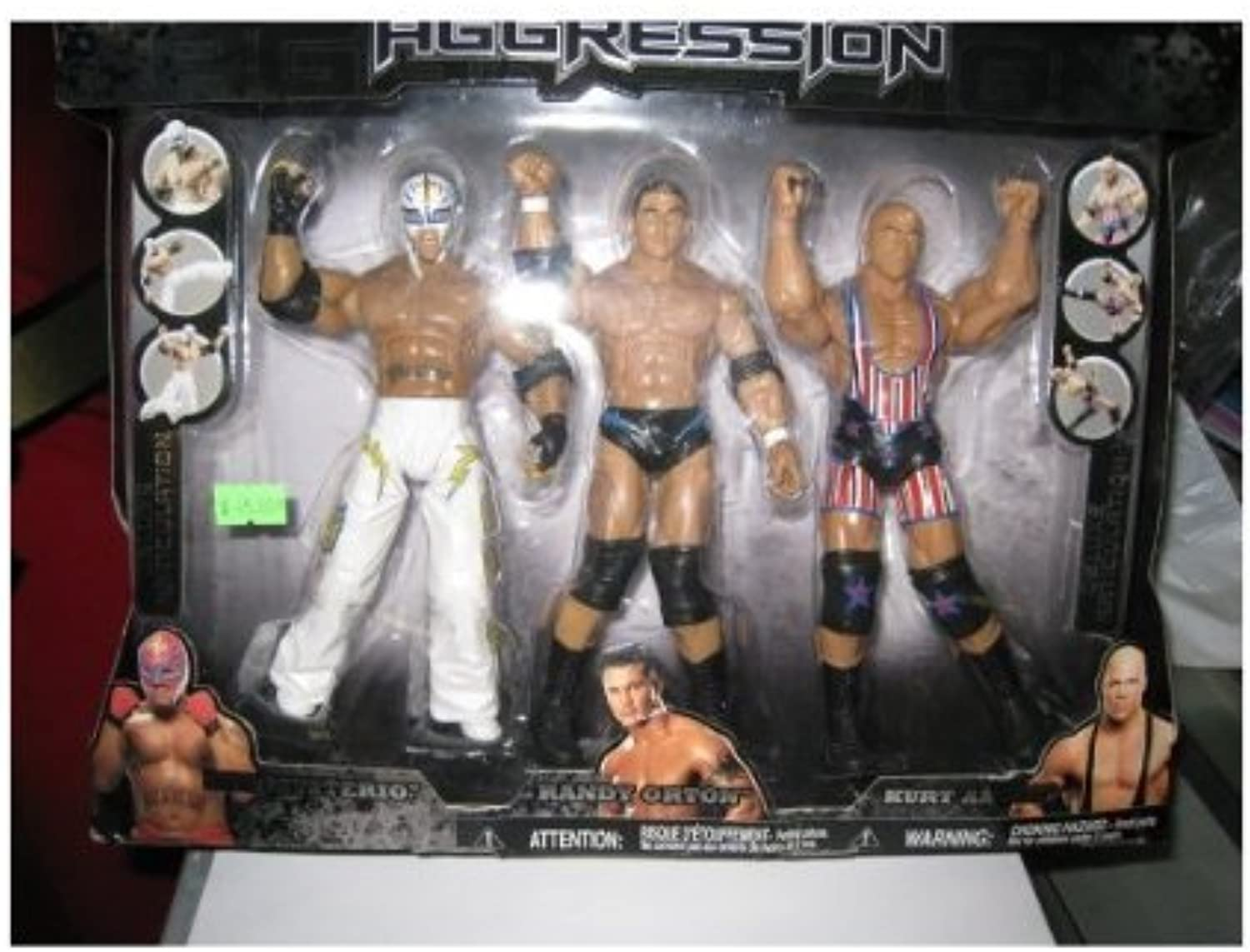 WWE DELUXE AGGRESSION EXCLUSIVE KB- REY MYSTERIO RANDY ORTON KURT ANGLE by Jakks Pacific