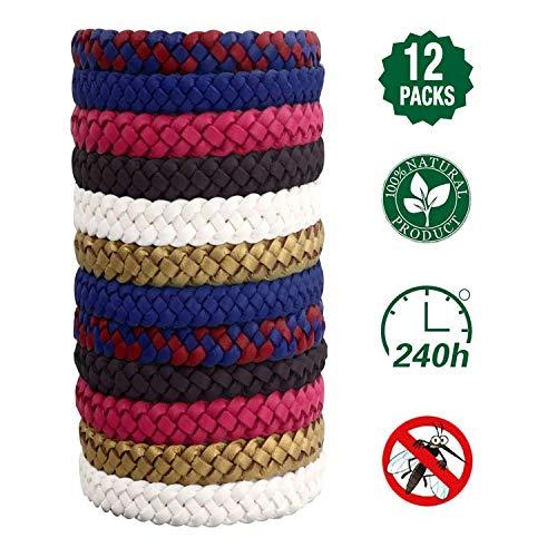 T98 Mückenschutz Armband, Mückenarmband Insektenschutz 100% Natürlicher Pflanzenextrak Mückenarmbänder 12 Stück, Anti Mücken Armband Gürtel für Kinder geeignet Erwachsene Indoor und Outdoor Camping