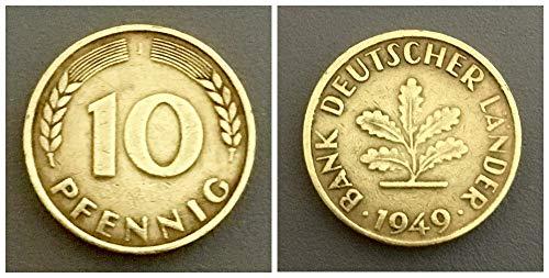 – Deutschland (1949) 10 Pfennig, Bank Deutscher Länder Prägezeichen J