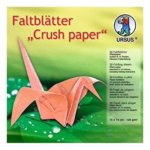Ursus 3325599 - Faltblätter Crush Paper, 15 x 15 cm, 50 Blatt, sortiert in 10 Farben