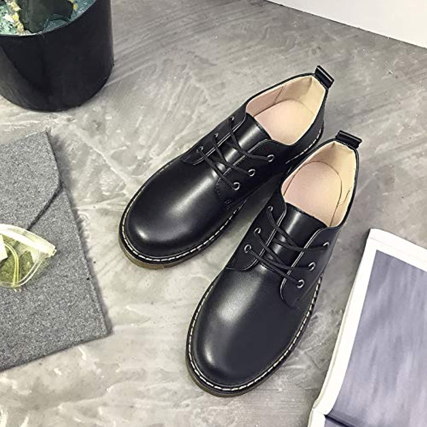 LOVDRAM Boots Men's Men'S shoes Retro Round Head Low To Help Cotton shoes Martin Boots Students